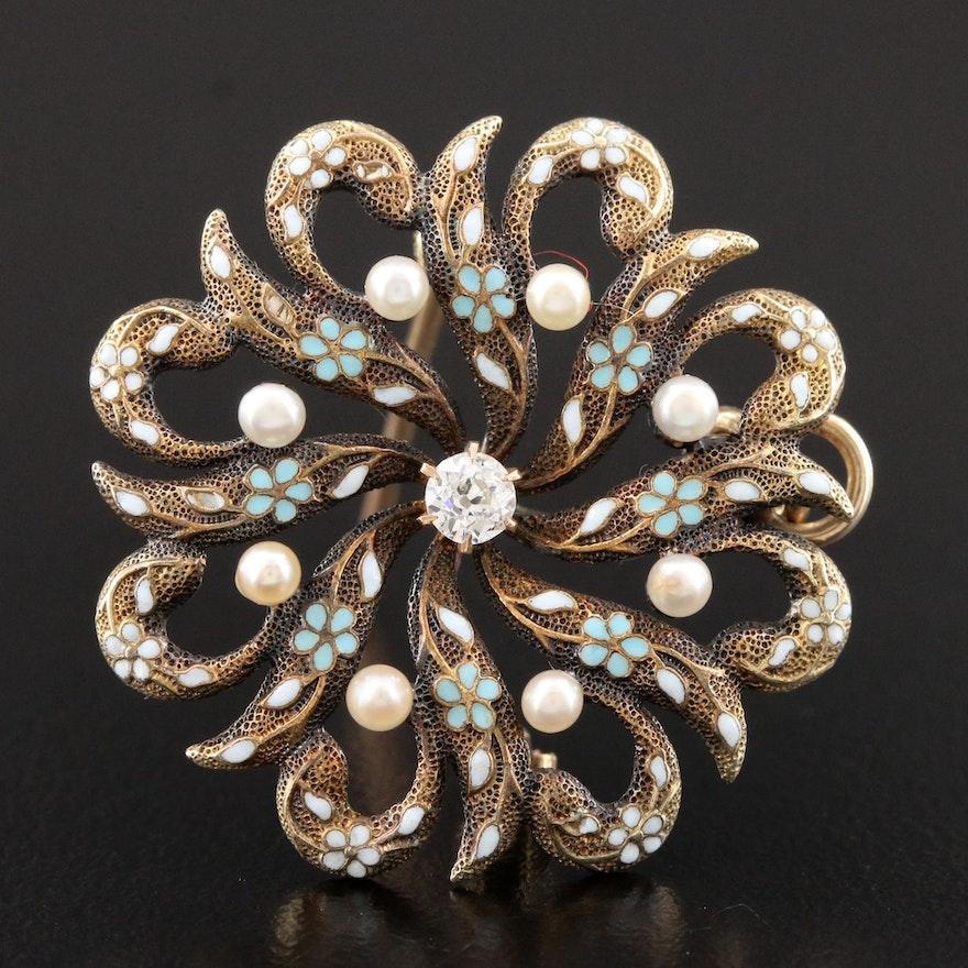 Circa 1900 14K Yellow Gold Diamond and Pearl Converter Brooch