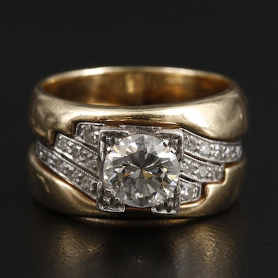Vintage Platinum 1.06 CTW Diamond Ring With 14K Yellow Gold Jacket