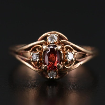 Vintage 10K Yellow Gold Garnet and Diamond Ring
