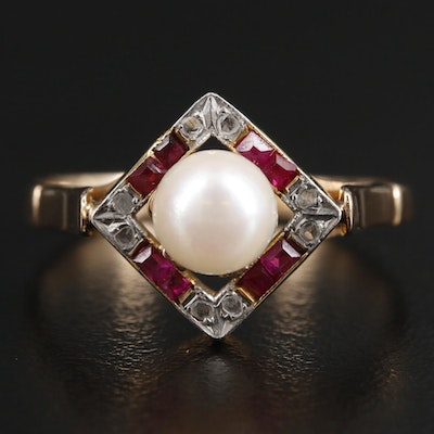 Circa 1940 18K Yellow Gold and Platinum Pearl, Diamond and Ruby Ring