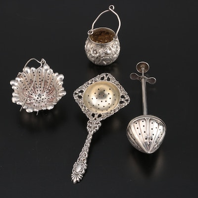Paye & Baker and Other Sterling Silver Tea Strainers