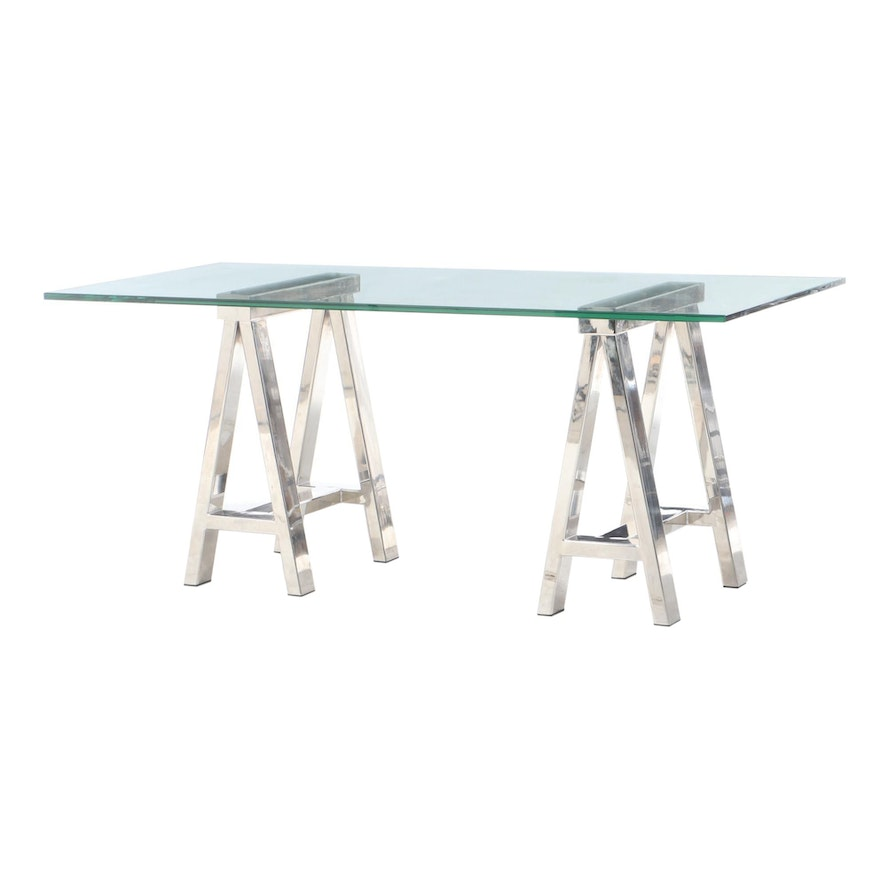 Williams-Sonoma Chrome Sawhorse and Glass-Top Table, 21st Century