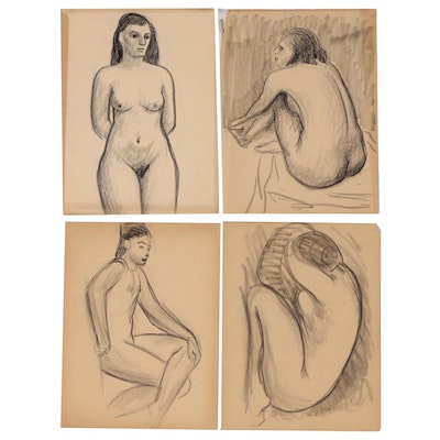Thomas Brownell Eldred Conté Crayon Figure Drawings