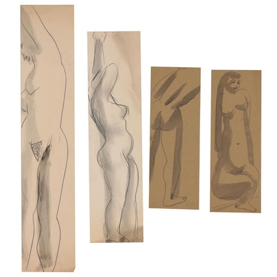 Thomas Eldred Graphite and Ink Wash Figure Drawings