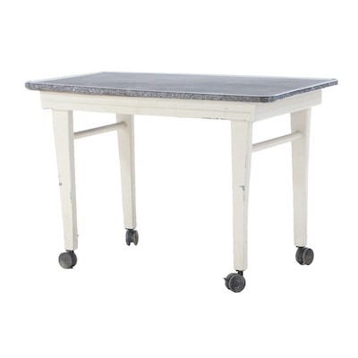 Porcelain Enameled-Top Painted Kitchen Table on Casters, circa 1940