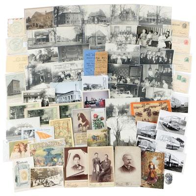 Advertising Trade Cards, Photographs, and Other Ephemera Feat. Marshall, MI
