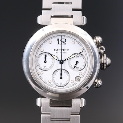 Cartier Pasha de Cartier Stainless Steel Automatic Chronograph Wristwatch