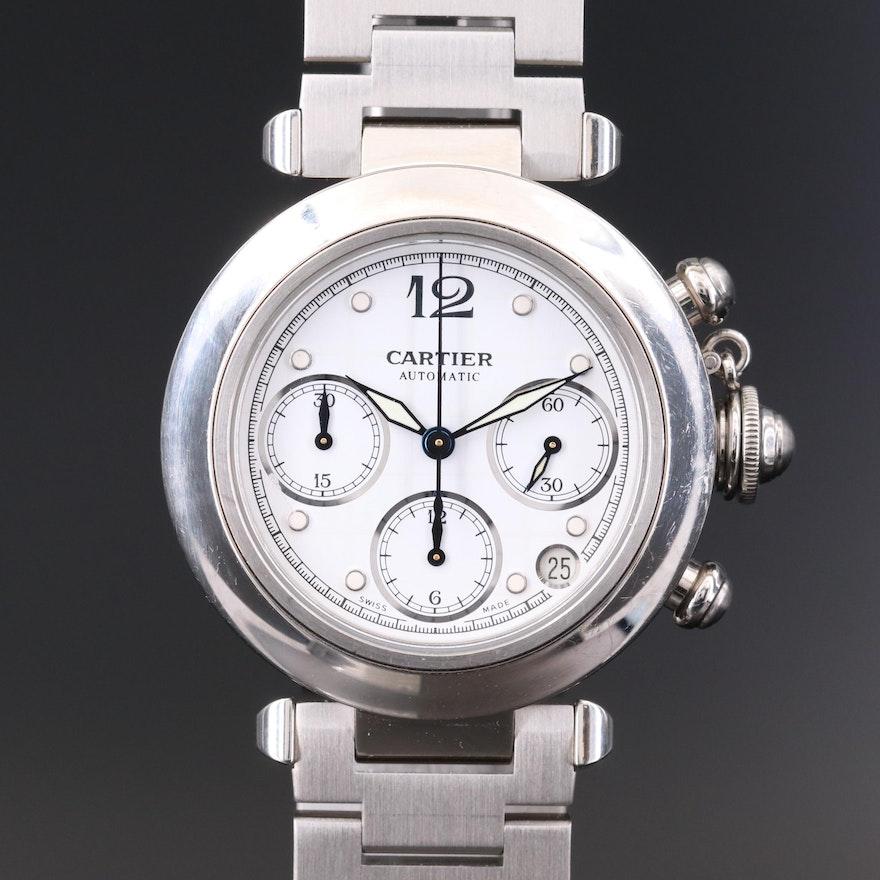 Cartier Pasha de Cartier Stainless Steel Automatic Chronograph Wristwatch