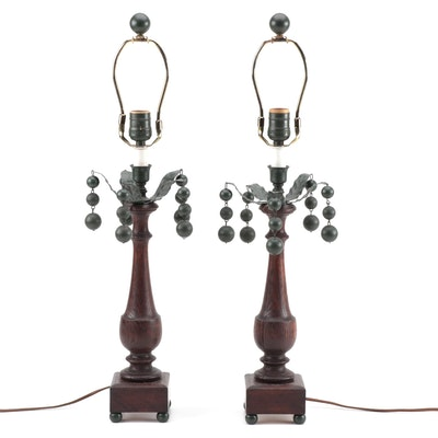 Pair of Oak and Tole Abstract Palm Table Lamps
