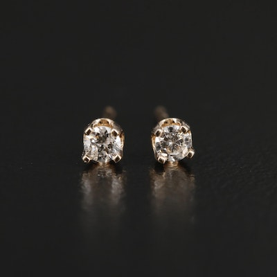 14K Yellow Gold 0.11 CTW Diamond Stud Earrings