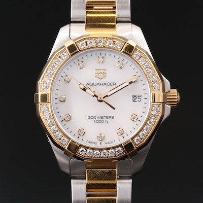 TAG Heuer Aquaracer Two Tone Stainless Steel and Diamond 300 Meter Wristwatch