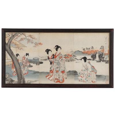 """Toyohara Chikanobu Woodblock Triptych from """"Chiyoda Inner Palace"""" Series, 1895"""
