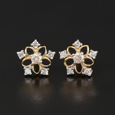 18K Yellow Gold Diamond Star Stud Earrings