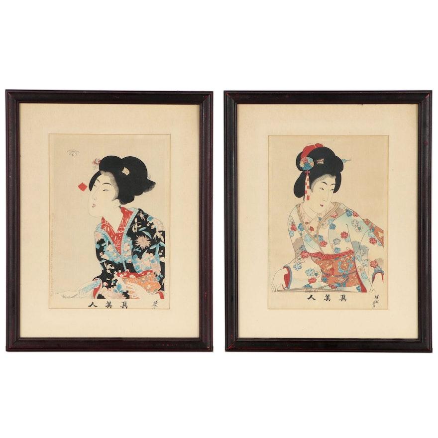 """Toyohara Chikanobu Woodblocks from """"Shin Bijin"""" Series, 1897"""