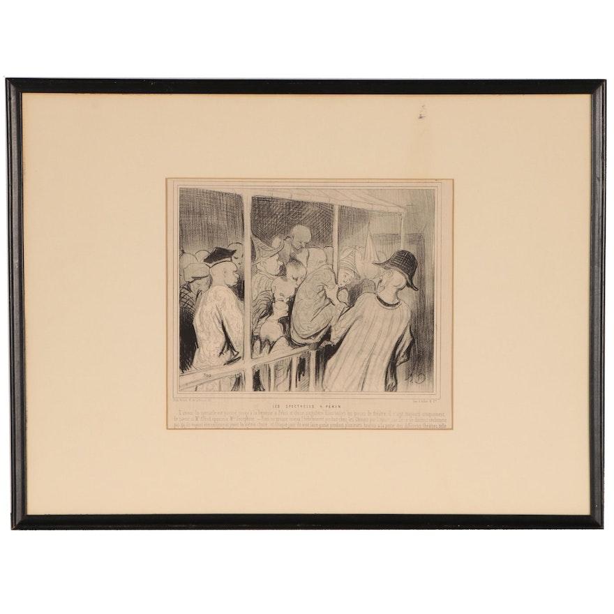 """Honoré Daumier Lithograph """"Les Spectacles a Pékin"""", 1845"""