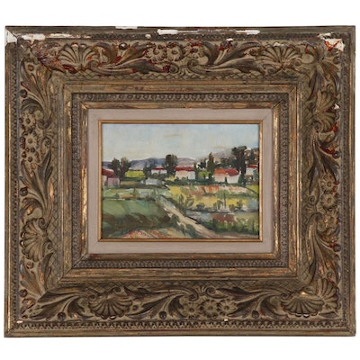 Greek Landscape Oil Painting, Late 20th Century Frame