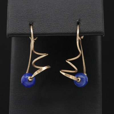 Contemporary 10K Yellow Gold Lapis Lazuli Wire Earrings