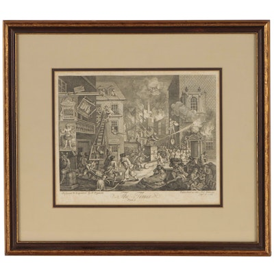 "William Hogarth Engraving ""The Times, Plate 1"", 1762"