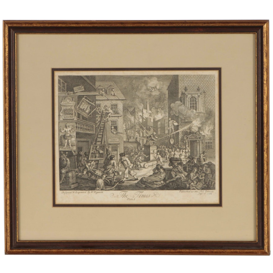 """William Hogarth Engraving """"The Times, Plate 1"""", 1762"""