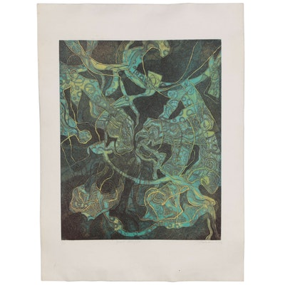 """Etching with Aquatint """"Quiet Struggle"""", Late 20th Century"""