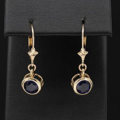 14K Gold Synthetic Blue Sapphire Dangle Earrings
