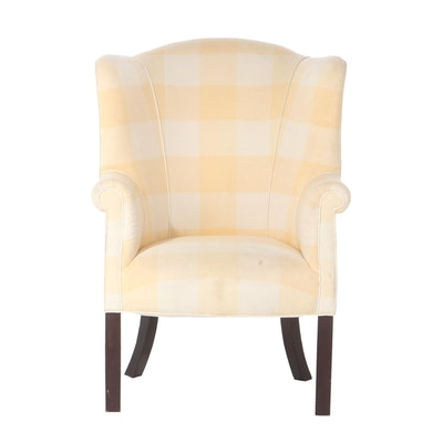 George III Style Plaid-Upholstered and Mahogany-Stained Barrel-Back Armchair