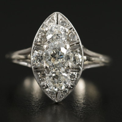 Early Art Deco 14K White Gold 1.88 CTW Diamond Ring