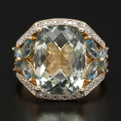 Sterling Silver Prasiolite, Topaz and Diamond Ring