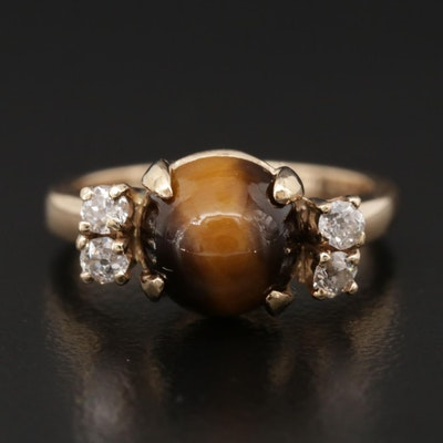 14K Yellow Gold Tiger's Eye and Diamond Ring