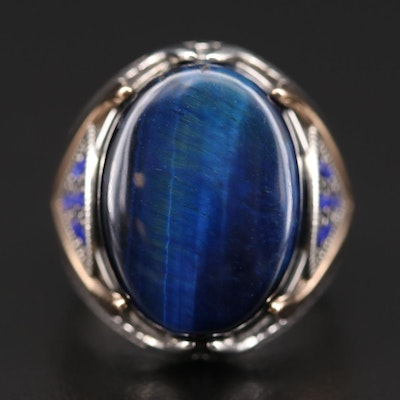 Sterling Silver Tiger's Eye and Blue Glass Ring