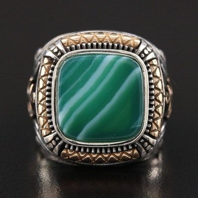 Sterling Silver Malachite Ring with Anchor Accents