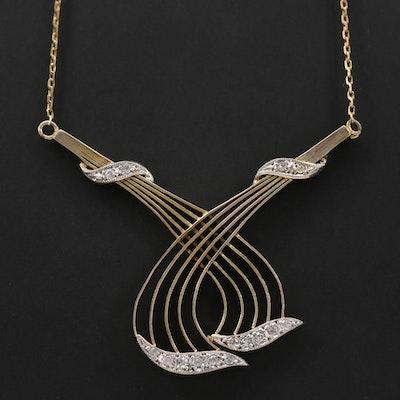 Vintage 10K Yellow Gold Diamond Necklace