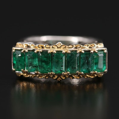 Sterling Silver Emerald Bar Ring