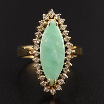 14K Yellow Gold Jadeite and Diamond Navette Ring