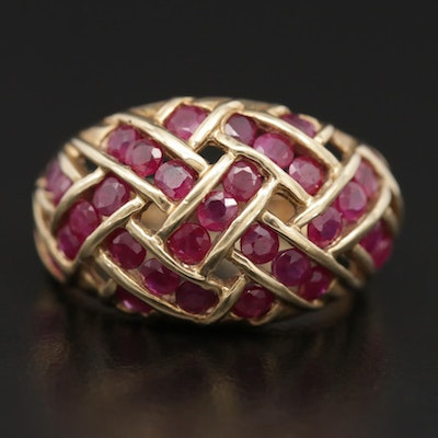 10K Yellow Gold Ruby Dome Ring
