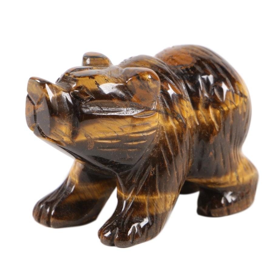 Hand-Carved Tiger's Eye and Quartz Bear Figurine
