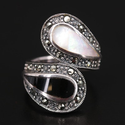 Sterling Silver Mother of Pearl, Black Onyx and Marcasite Bypass Ring