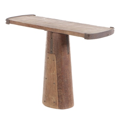 Rustic Hand Planed Mahogany Table with Iron Banding and Square Nail Detailing