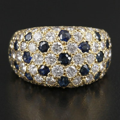 18K Yellow Gold 2.10 CTW Diamond and Sapphire Pavé Dome Ring