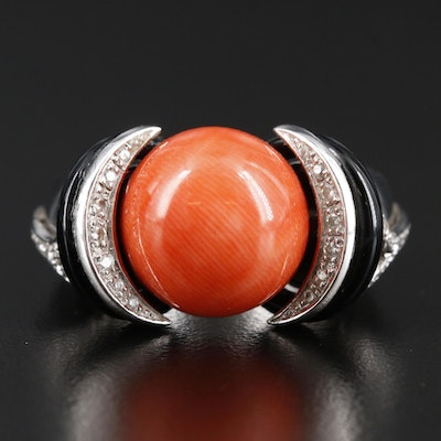 18K White Gold Coral, Diamond and Black Onyx Ring