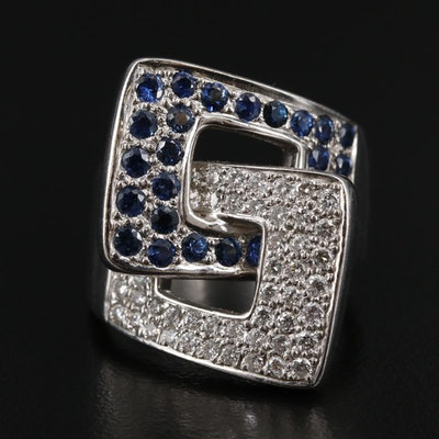 18K White Gold Diamond and Sapphire Buckle Ring