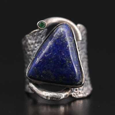 Brutalist Style Sterling Silver Lapis Lazuli and Glass Ring