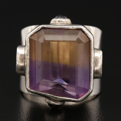 Sterling Silver Ametrine, Garnet and Iolite Ring
