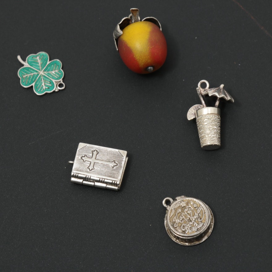 Vintage Sterling Charm Selection Featuring Four Leaf Clover and Bible