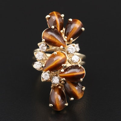14K Gold Tiger's Eye and Diamond Openwork Ring