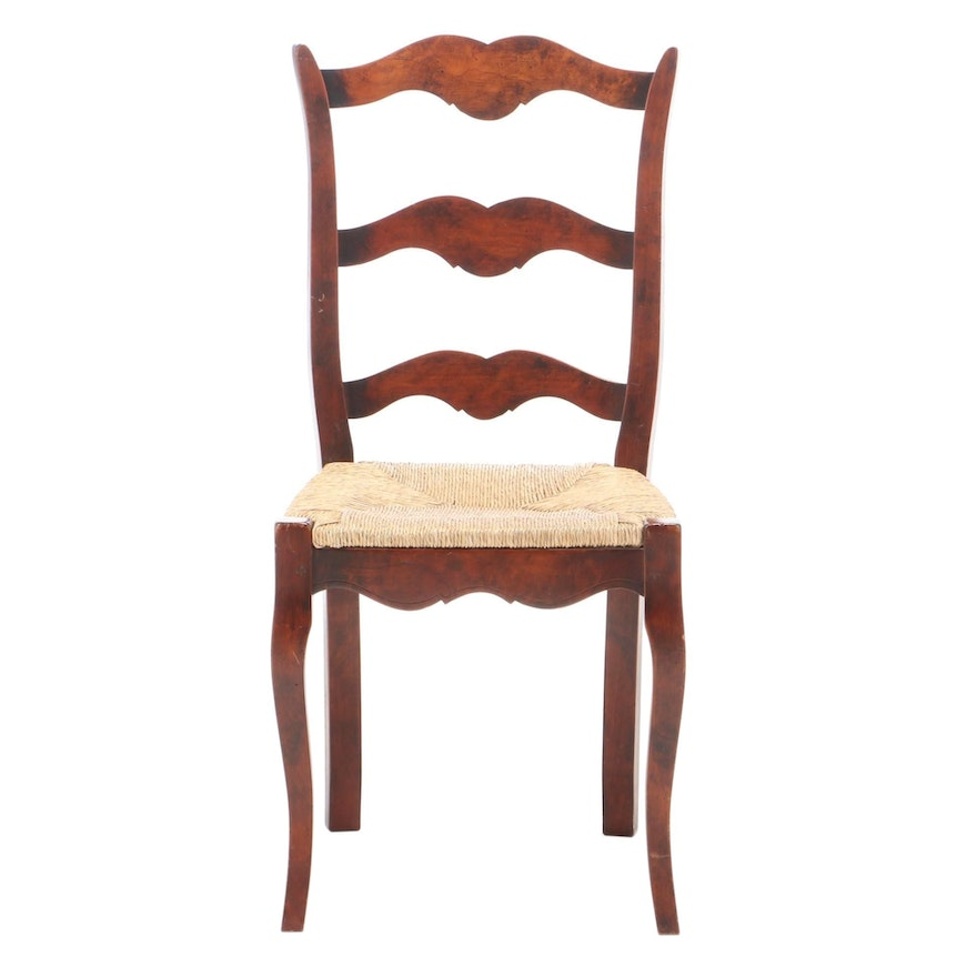 French Provincial Style Beech Ladderback Side Chair, Late 20th Century