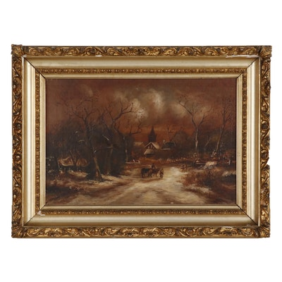 Rose Colgan Landscape Oil Painting of Winter Scene with Figures