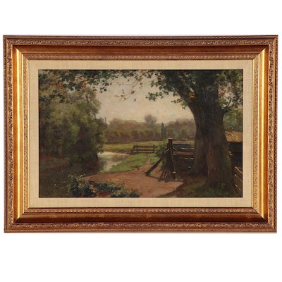 Dutch Landscape Oil Painting of Footpath by Stream