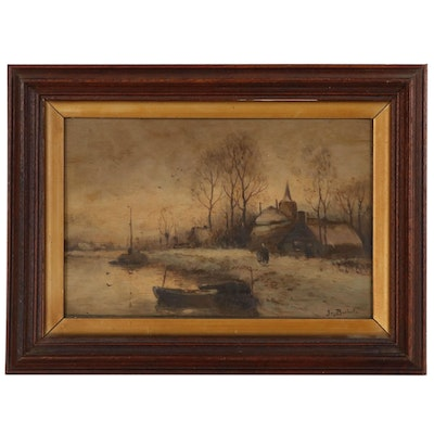 European School Landscape Oil Painting of Winter Scene