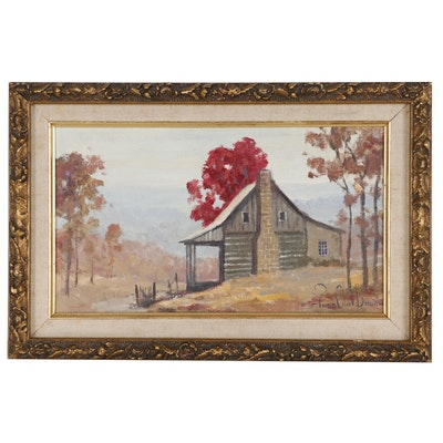 Francis Clark Brown Oil Painting of Cabin in Mountain Landscape